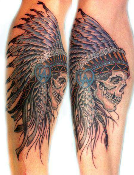 Indian-skull-head_dress-tattoo