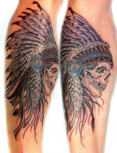 Indian-skull-head_dress-tattoo