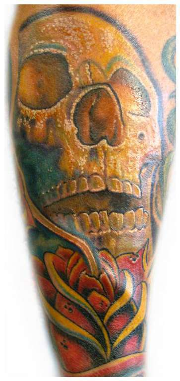 Skull_and_rose-color-tattoo