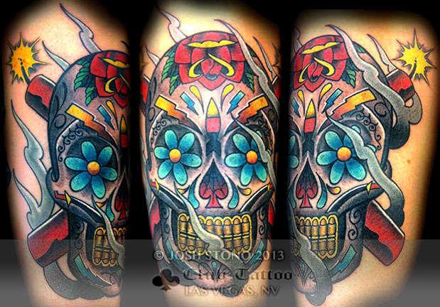 Club-tattoo-josh-stono-las-vegas-planet-hollywood-tradtional-skull