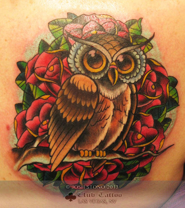 New Traditional Owl Tattoo