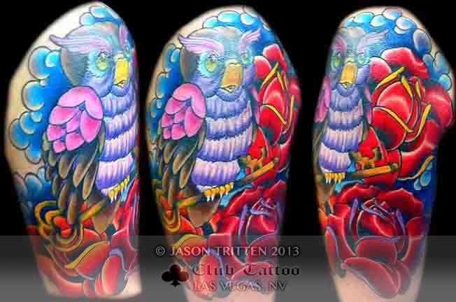 Club-tattoo-jason-tritten-las-vegas-planet-hollywood-miracle-mile-owl