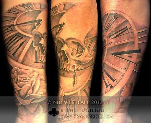 Club-tattoo-nic-westfall-san-francisco-skull-pier-39