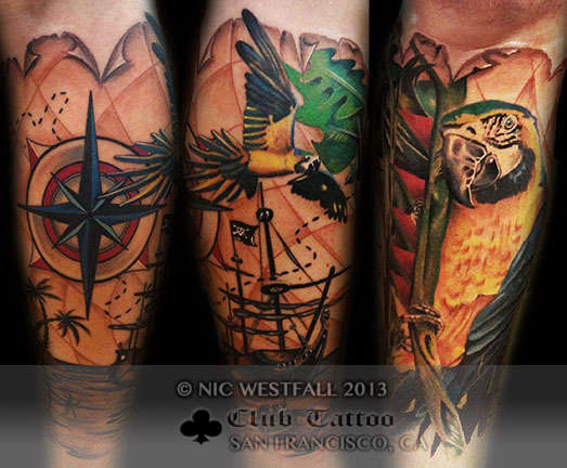 Club-tattoo-nic-westfall-san-francisco-pier-39-parrot