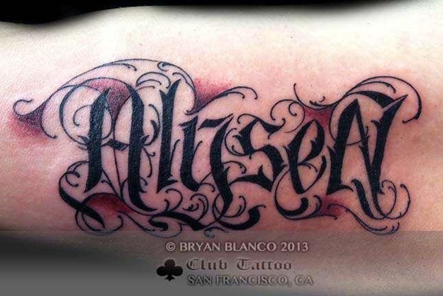 Club-tattoo-bryan-blanco-san-francisco-lettering-pier-39