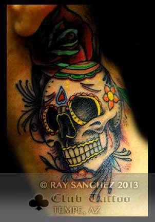 Club-tattoo-ray-sanchez-tempe-traditional-skull-1
