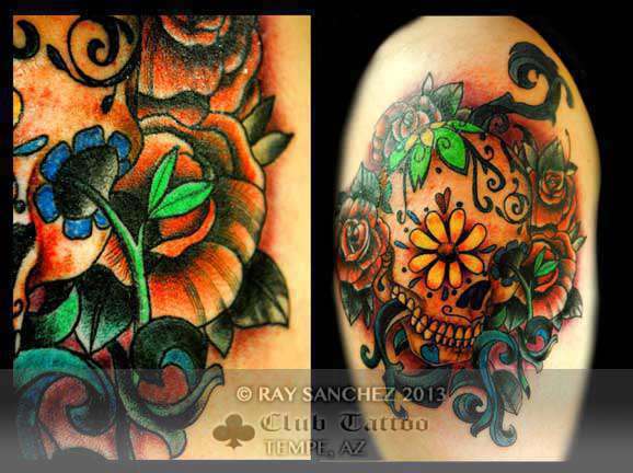 Club-tattoo-ray-sanchez-tempe-traditional-skull-2