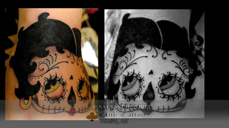 Club-tattoo-ray-sanchez-tempe-betty-boop-day-of-the-dead-1
