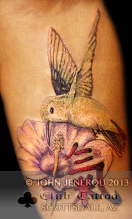Club-tattoo-john-jenerou-scottsdale-hummingbird