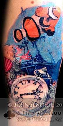 Club-tattoo-john-jenerou-scottsdale-fish-clock