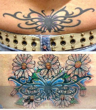 Club-tattoo-john-jenerou-scottsdale-flower-cover-up
