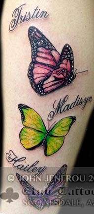 Club-tattoo-john-jenerou-scottsdale-butterflies