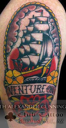 Club-tattoo-seth-alexander-cunningham-scottsdale-traditional-ship