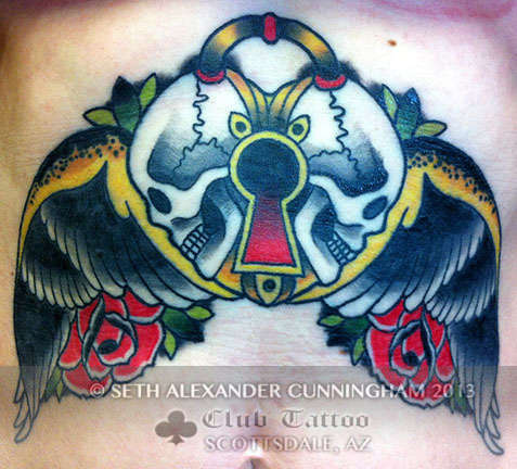 Club-tattoo-seth-alexander-cunningham-scottsdale-traditional-skulls
