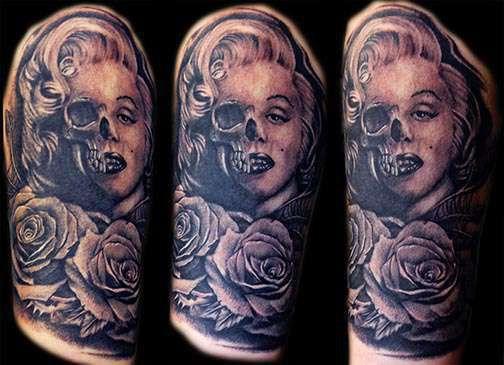 Club-tattoo-shay-milford-mesa-marylin-monroe-skull