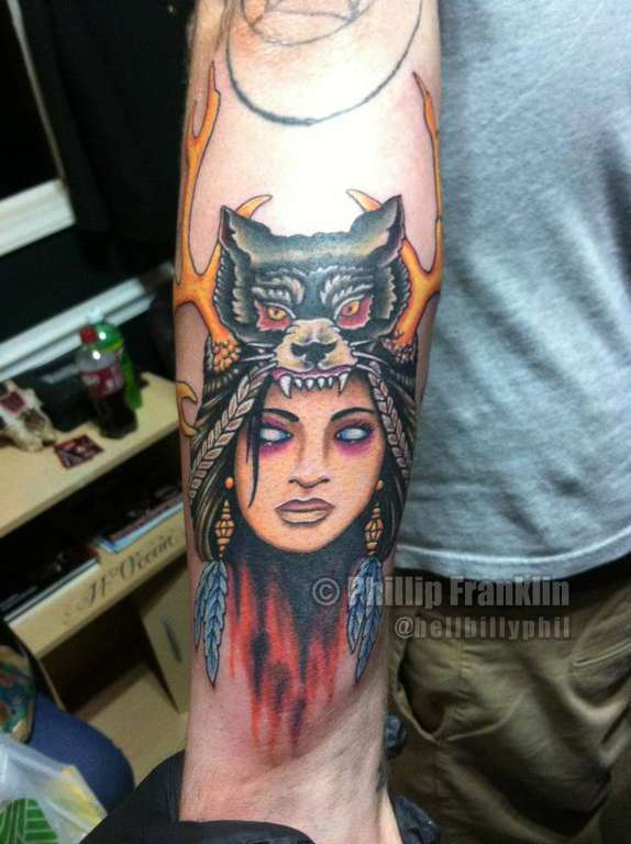 Hellbillyphil traditional native american color woman for Native american woman tattoo