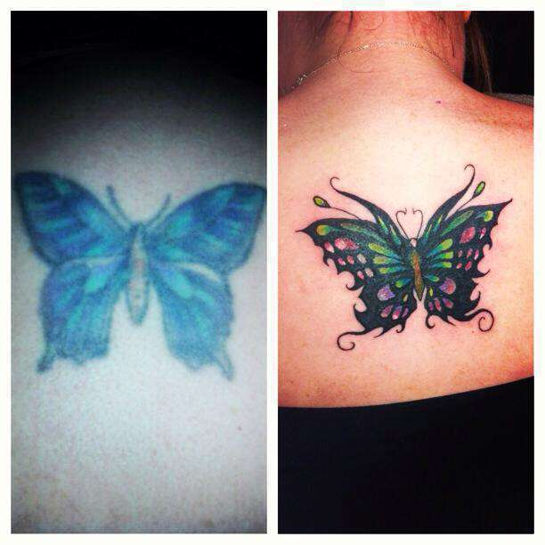 Lisabutterfly Cover Up Pink Black Shading Green Purple Color Fix