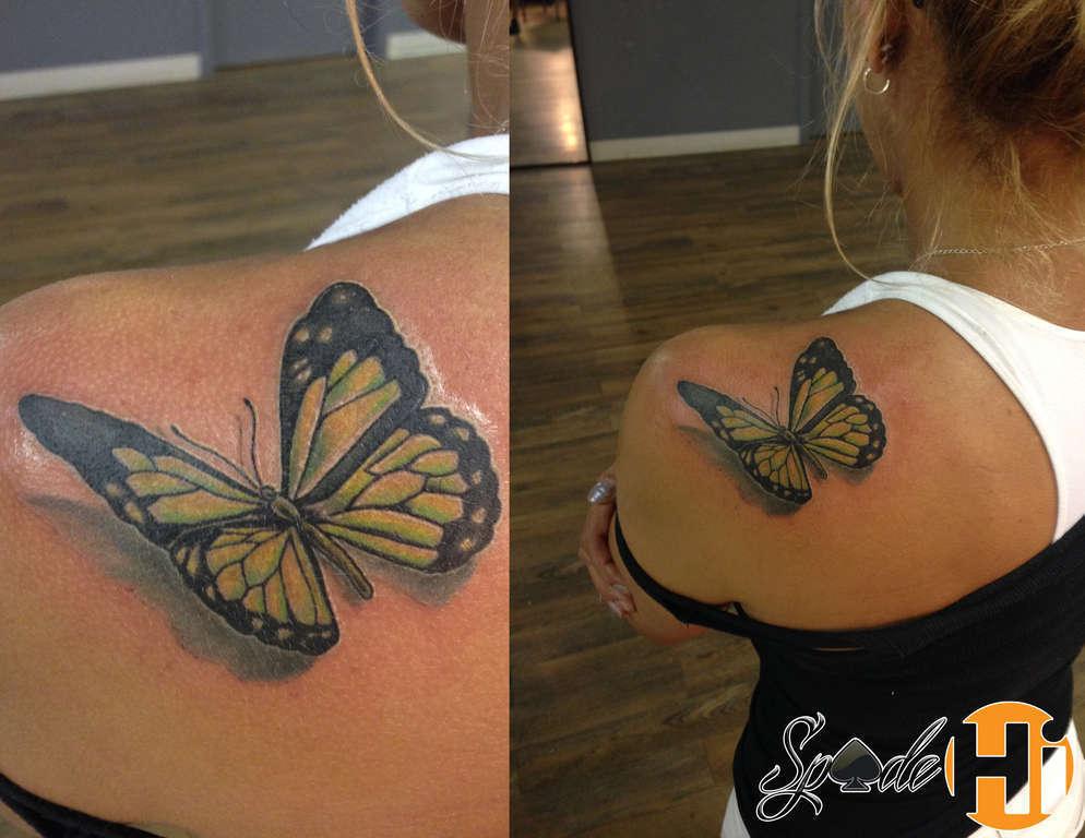 Spade Butterfly Tattoo On Shoulder Butterfly Girl Girly