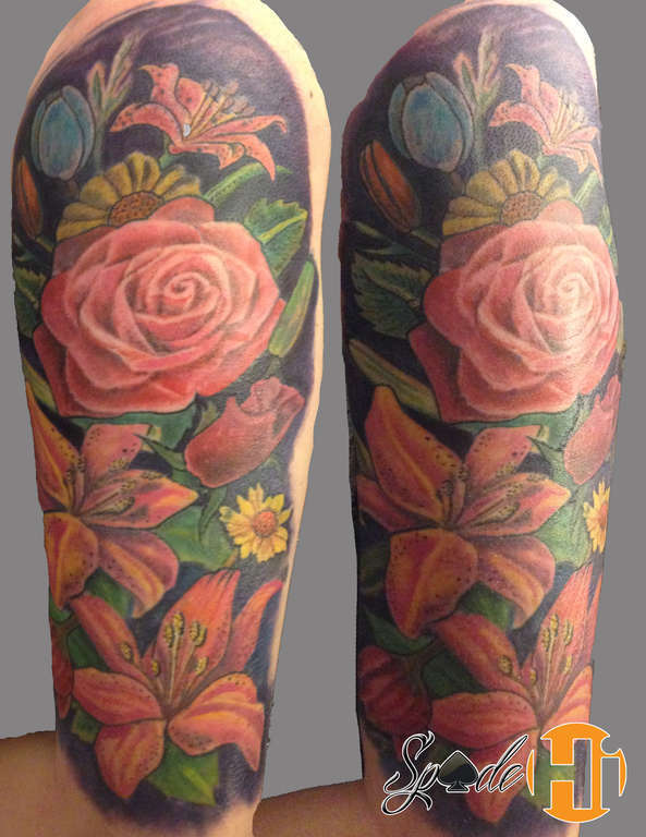 Spade Flower Tattoo Sleeve Color Flower Tattoo Flower Tattoos