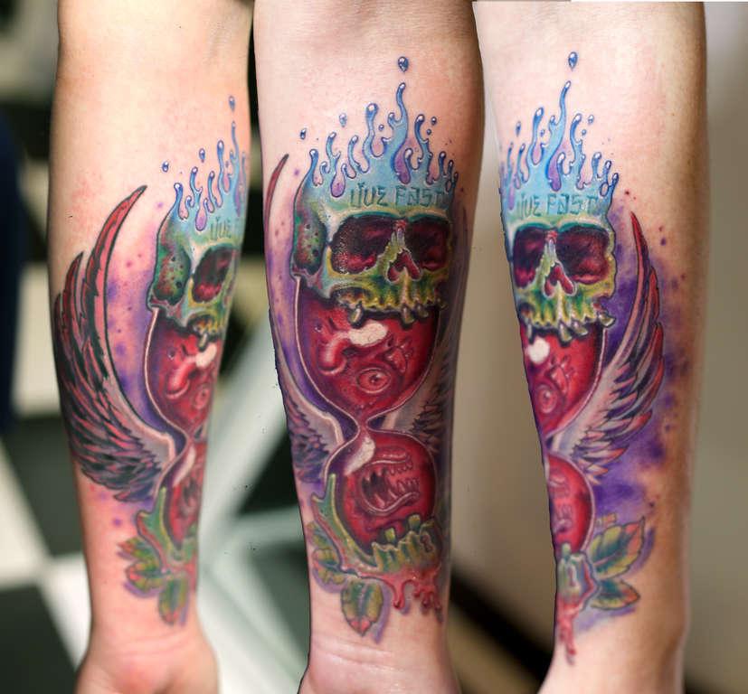 Jotapaintclock Skull Newschool Wings Hearts Timeless Skull Tattoo
