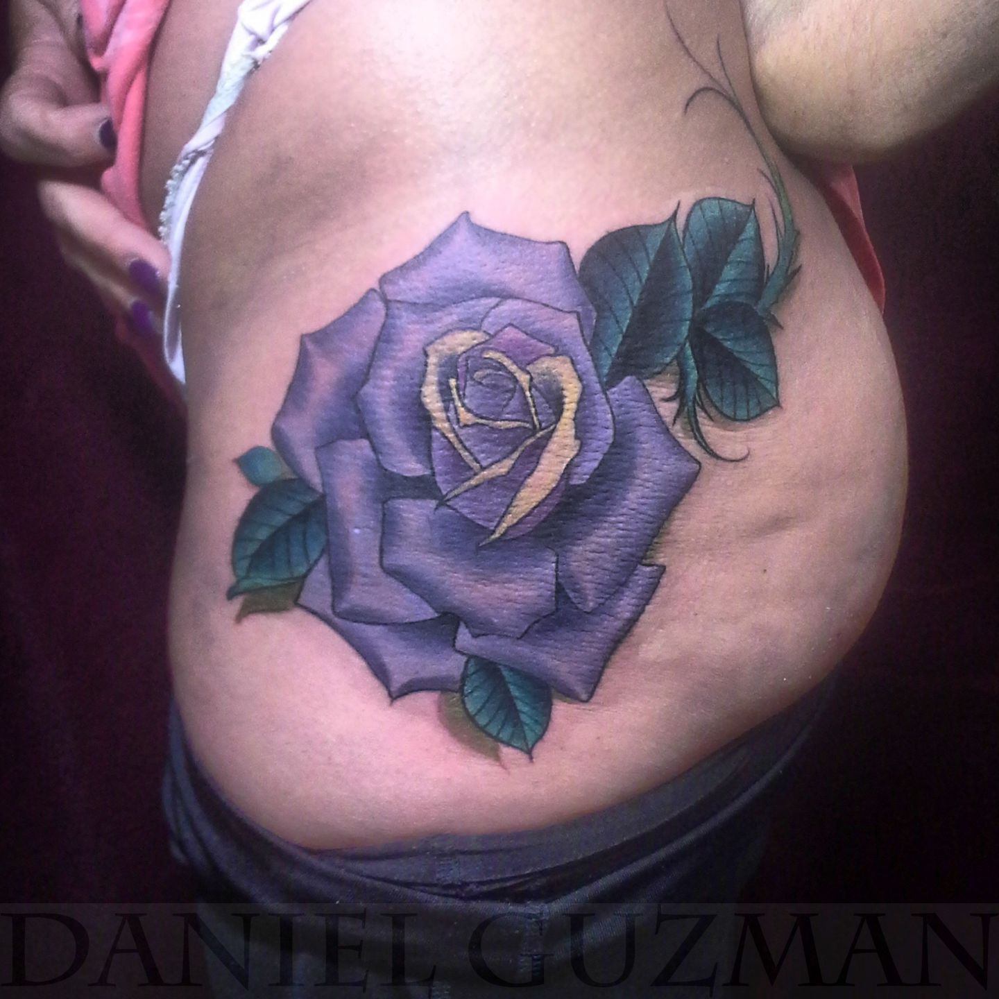 Danielguzmantattoos neo traditional rose rose tattoo for Neo traditional rose tattoo