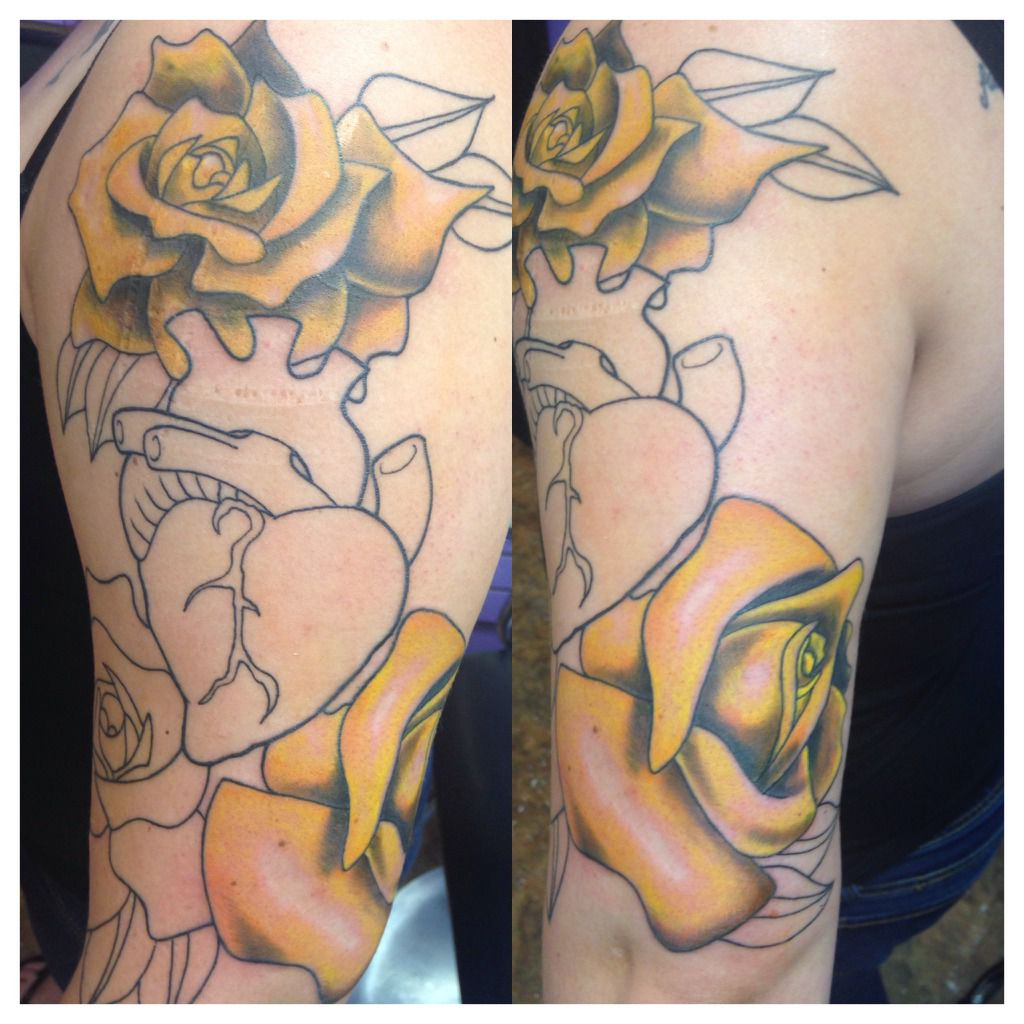 teknix:yellow-roses-and-anatomical-rose-tattoo-that-i-started-tattoo ...