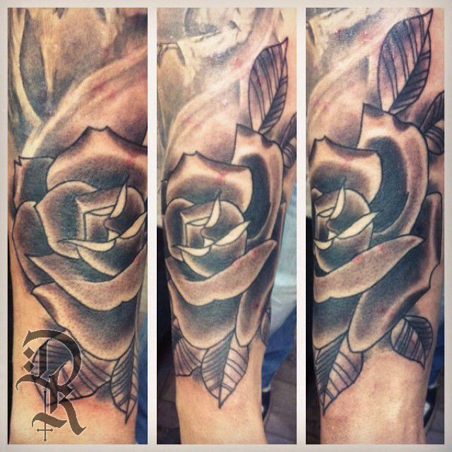 deekaytattoo:rose-tattoo-black-and-grey-neotraditional ...