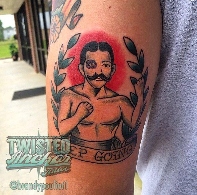 Grendel Boxer Mustache Lettering Banner Boxer Traditional