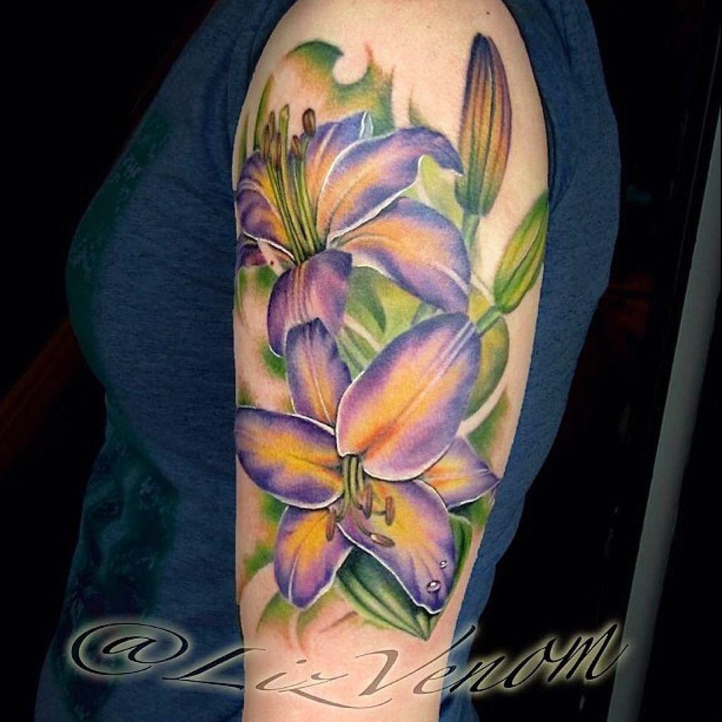 Lizvenompurple Lily Half Sleeve Flower Tattoo By Liz Venom Flower