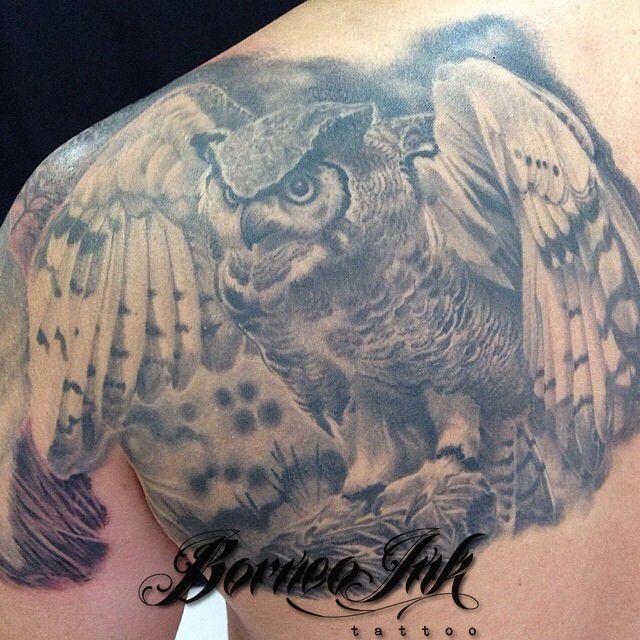 Great Horned Owl Black And Grey Tattoo eddieborneoink:...