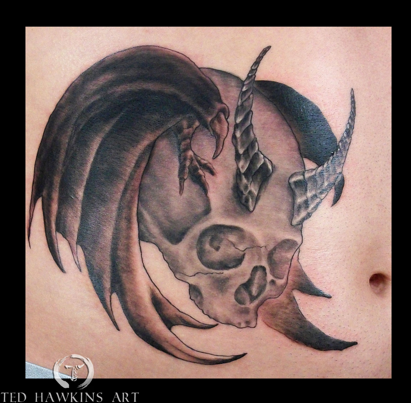 tedhawkinsart:winged-horned-skull-skull-black-and-grey ...