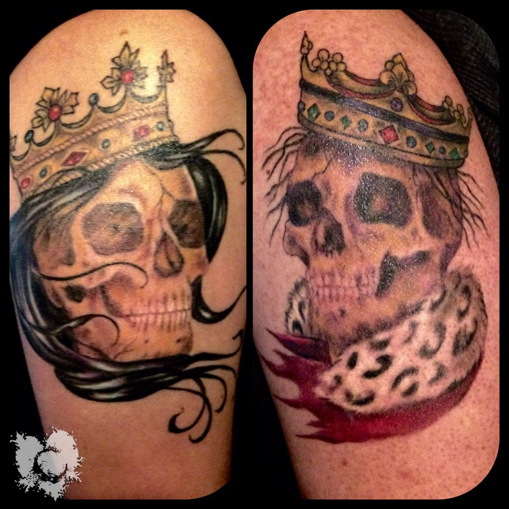 Ceejay king and queen color skulls crowns neotat machines for Stencil stuff tattoo