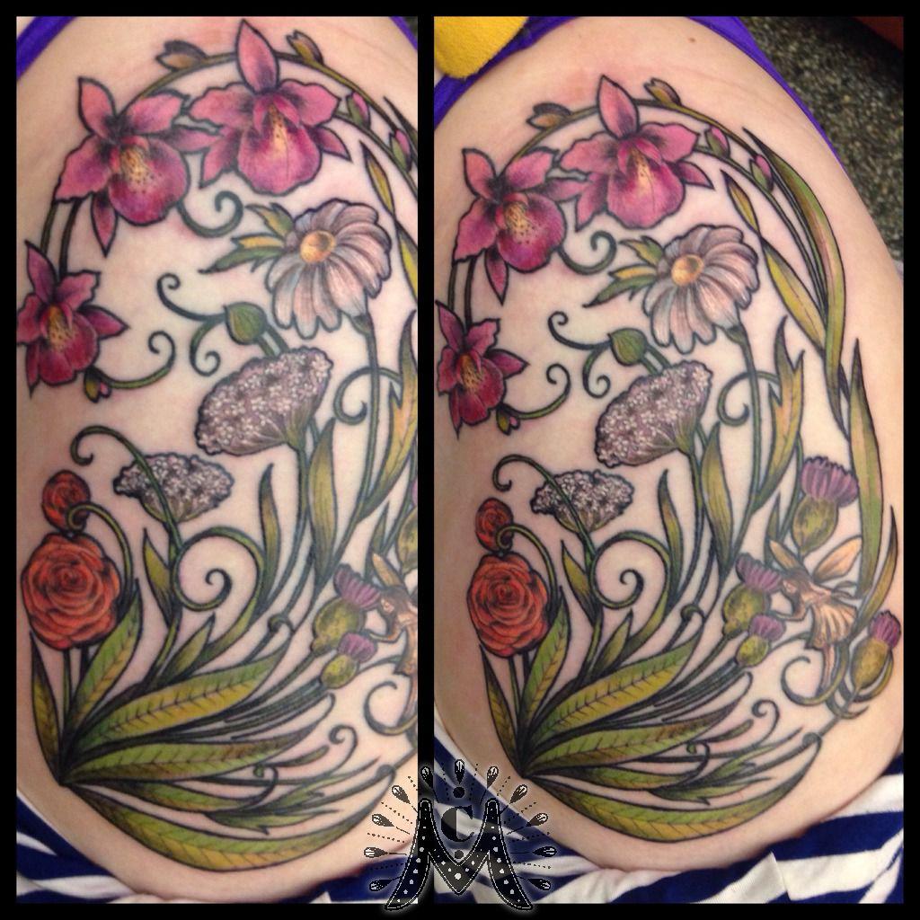 Art Nouveau Flower Tattoo: Guerramarz:art-nouveau-floral-flower-thistle-daisy-orchid
