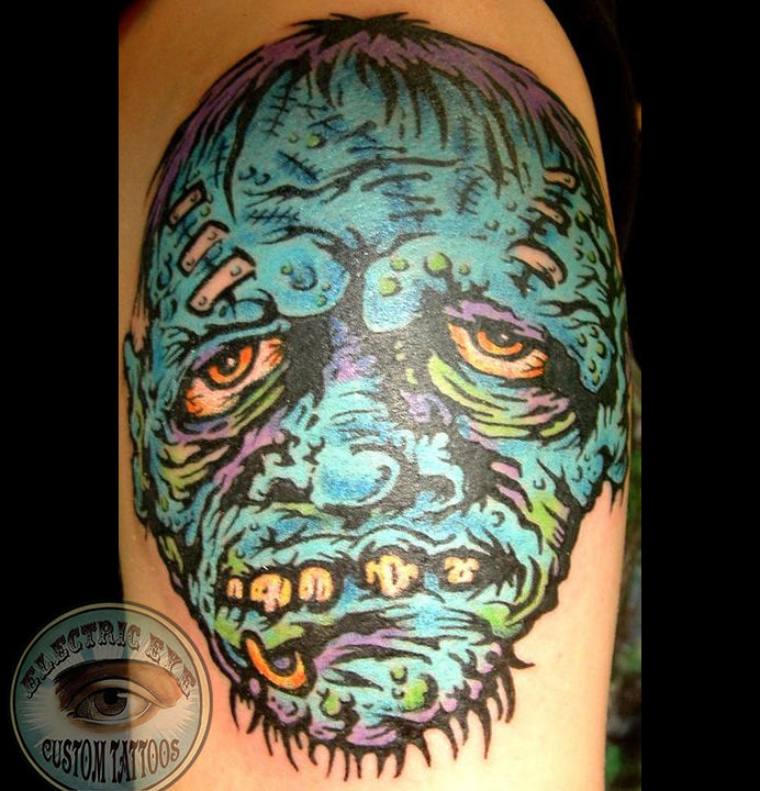 Monicamoses Color Horror Colorful Zombie Tattoo Cartoon Skull