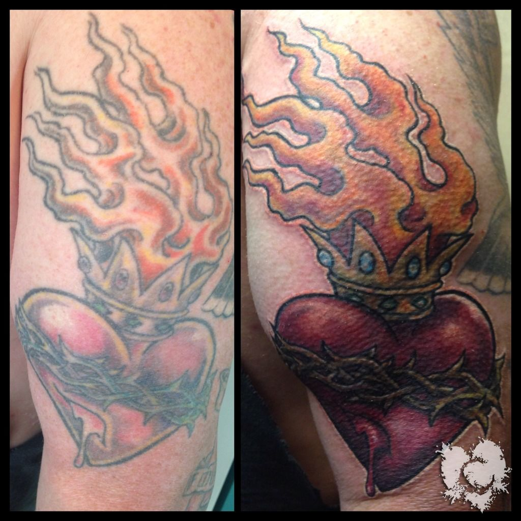 Ceejay heart rework sacred heart rework cover up downriver for Stencil stuff tattoo