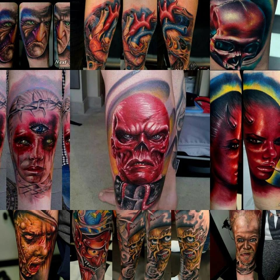 Floki Tattoos: Costitattoo:the-scrooge-heart-skull-horror-tattoo-red
