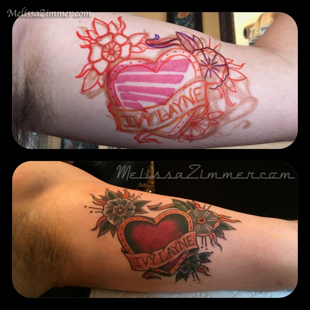 melissazimmer coverup heart tattoo banner lettering inner arm tattoo melissa zimmer traditional. Black Bedroom Furniture Sets. Home Design Ideas