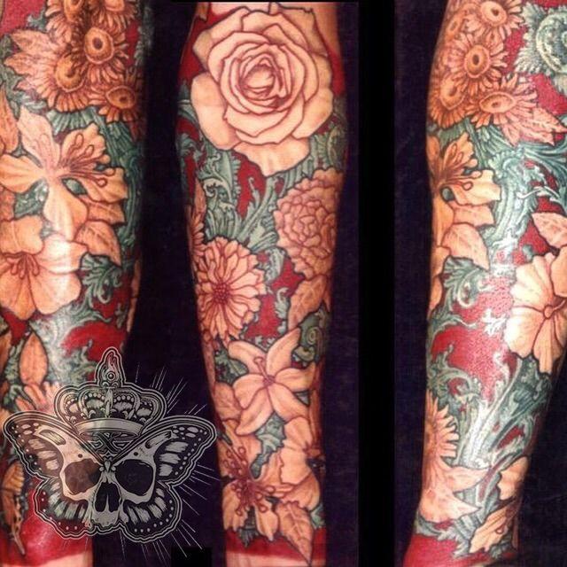 inkyknuckles:victorian-flower-sleeve-flowers-sleeve-color ...  Victorian Flower Tattoo