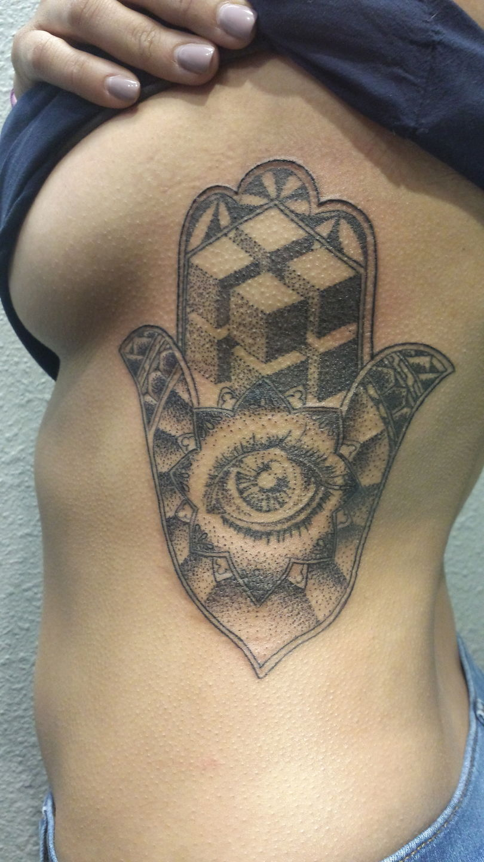 Nathanemery geometric dotwork hamsa tattoo by nathan emery for Bay area tattoo