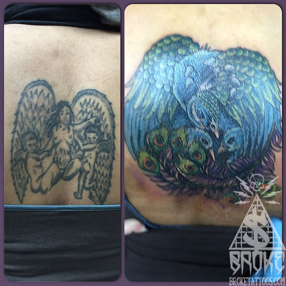 Aaronbroke back cover up cover up tattoo color fix peacock for Best tattoo artists in michigan