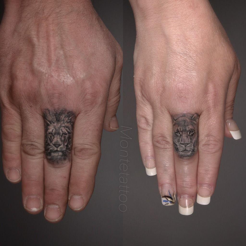 Montetattoo lion lioness finger black grey wildlife for Animal finger tattoos