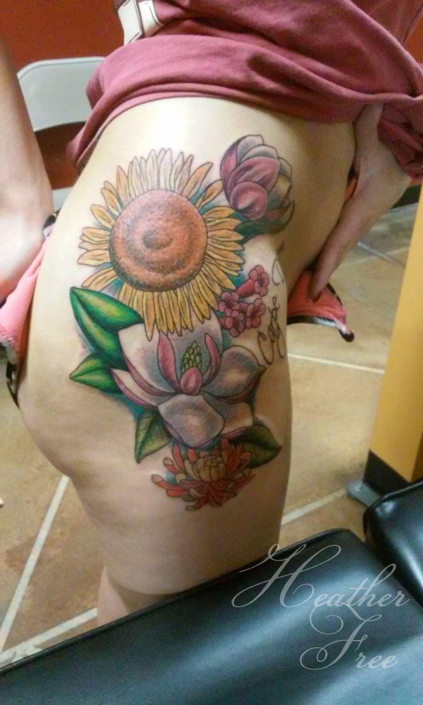 Heatherfree Floral Hip Tattoo Flowers Hip Sunflower