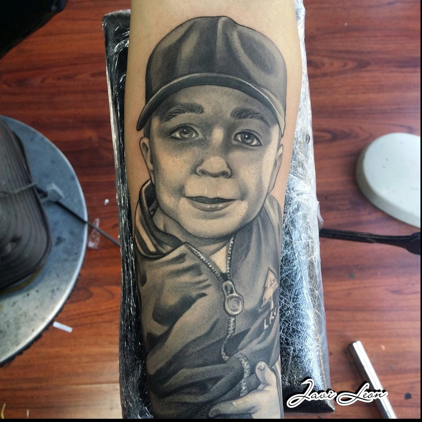 Javi fathers love portrait son hat color grey portraits for Kids with real tattoos