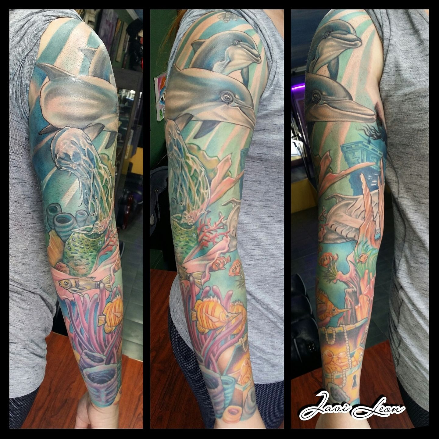 Image result for fish and coral ocean tattoo