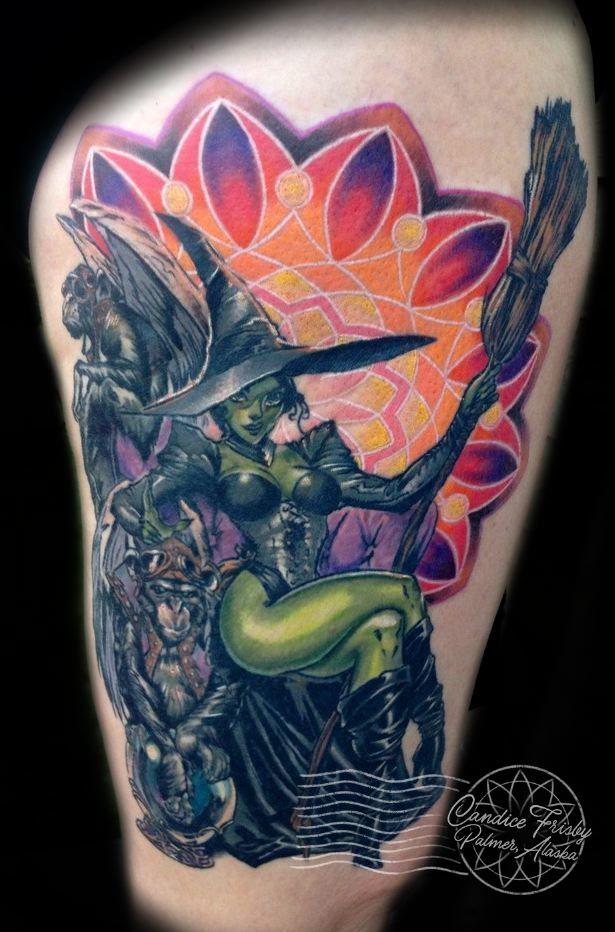 Sexy witch tattoo