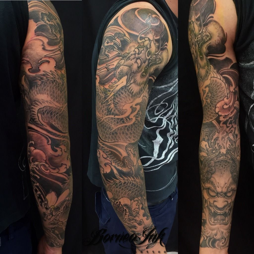 Japanese Style Sleeve Tattoo Flowers Koi Samurai: Eddieborneoink:dragon-and-lotus-flowers-sleeve-dragon