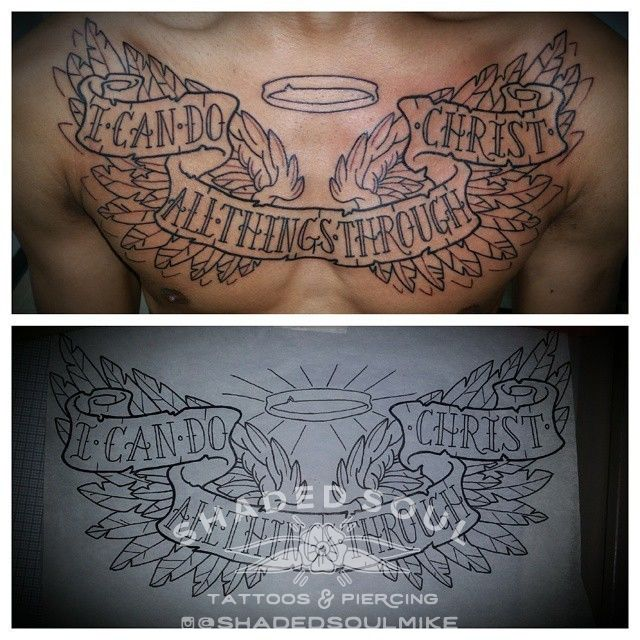 Shadedsoulmikeangel Wings Chest Piece Outline Linework Work In