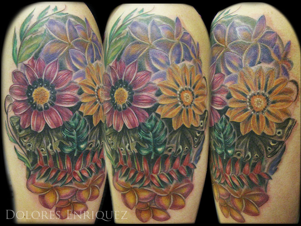 Dolores Day Of The Dead Skull Tropical Flowers Day Of The