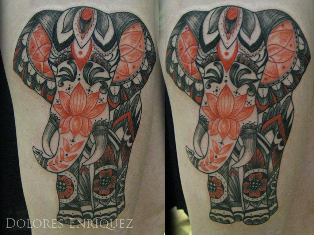 Dolores African Elephant Henna Inspired African Elephant Elephant