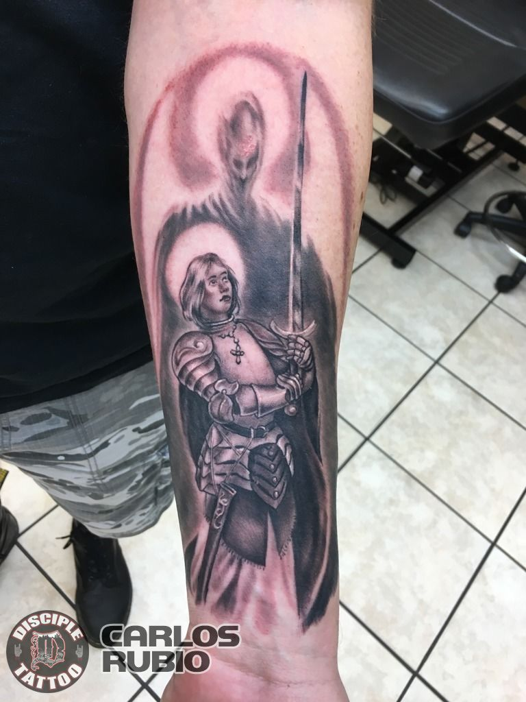Carlosrubiojoan Of Arc Black And Grey Half Sleeve Religious Tattoos